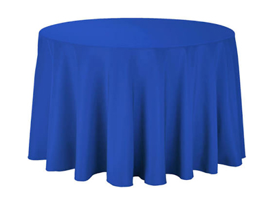 royal blue round table linen