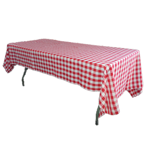 red and white table linen rental